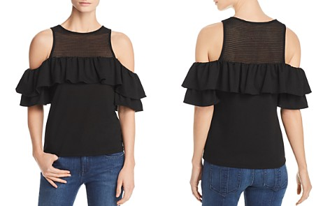 Red Haute Ruffle-Trim Cold-Shoulder Top - Bloomingdale's_2